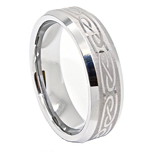 8Mm Silver-Colored Tungsten Band With Laser Etched Celtic Design Wedding Band Size 12