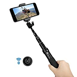 EC Technology® 6 - Section Extendable Bluetooth Selfie Stick for Smartphones - Black