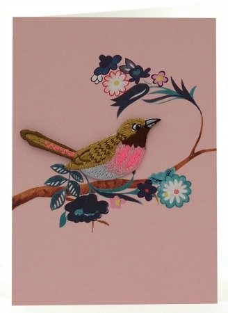 Petra Boase Embroidered Iron-On Bird Card - 3 front-840018