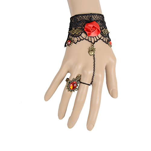 IPINK Black Lace Rose Flower Slave Bracelets with Ring Lolita Red Crystal Chain Metal