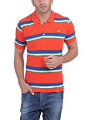 American Crew Men's Polo ( AC062_Red With Green/Blue & White Stripes_XX-Large)