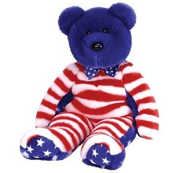 1 X TY Beanie Buddy - LIBERTY the Bear (Blue Head Version) - 1