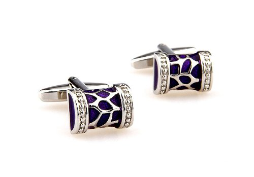 Silver Tone Purple Painted Engraved Cufflinks