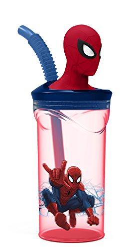 Character Spiderman '3D Head' botella con pajita vaso para cuarto de baño