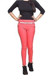 Xarans Cotton Lycra Pink Zip Jegging