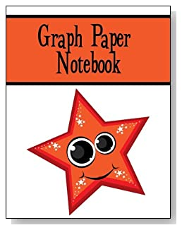 Graph Paper Notebook For Kids - A cute smiling star with big eyes and twinkles makes a fun cover for this graph paper notebook for younger kids.