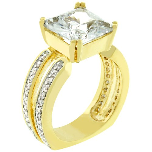 Anniversary 7.6 CT 14k Yellow Gold Plated CZ Ring Size 8
