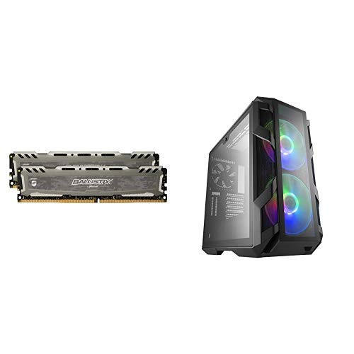 Ballistix Sport LT 16GB Kit (8GBx2) CL16 SR x8 DIMM 288-Pin Memory and MasterCase H500M ATX Mid-Tower with Controller and three Cable Management Covers Case (Tamaño: 16 Gb)