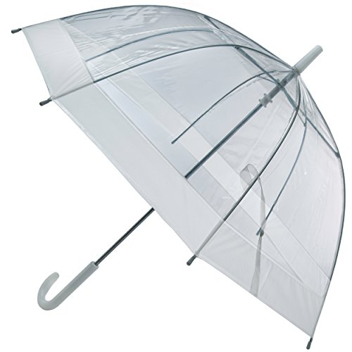 LHU Bubble Umbrellas for Kids,Outdoor Rain Gear for Girls and Boys, Add Rain Boots for Rainy Fun, Improved Canopy Coverage, Hook-Style Handle (Clear With White Trim) (Small Handle Umbrella compare prices)