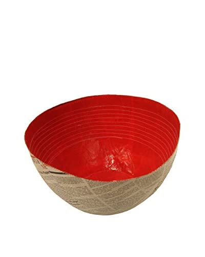 Asian Loft Swaziland Handcrafted Paper Mache Bowl with Stitch Pattern, Red/Natural