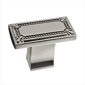Richelieu Hardware Bp78033195 Classic Metal Rectangular Knob With Decorative Trim 43mm Brushed