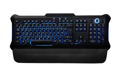 Perixx Px-1100, Backlit Keyboard - Red/Blue/Purple Illuminated Keys - Gaming Style Sollid 3.5Lbs Design - Rubber Painting Surface - 20 Million Key-Press Lifecycle - Brightness Control Wheel - 6 Feet Long Cable - Adjustable Palm Rest
