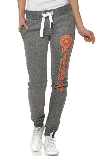 M.Conte Sweat-Pants Modello Ramona Pantaloni in Felpa sportivi da Jogging tuta felpa per donna grigio arancione Taglia XL