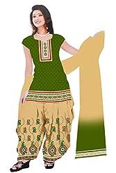 Dharmnandan Fashion Panghat Green color Cotton Woman's Fancya Dress Material