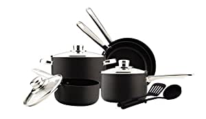 Cook's Select Hard-Anodized 10-Piece Cookware Set plus Utensils