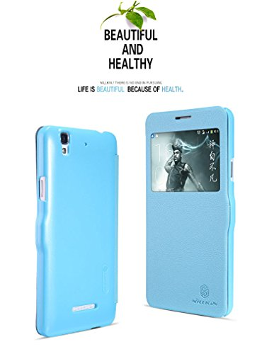Nillkin Fresh Premium Leather Smart Window Magnetic Flip Case Cover For Cyanogen Mod MICROMAX YU YUREKA - Blue