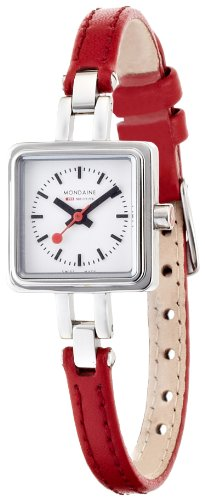 Mondaine Lilly Ladies Watch A666.30339.11SBC with White Square Dial and a Red Leather Strap