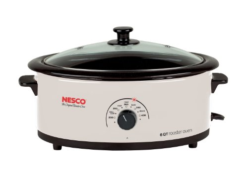 Nesco 4816-14G-30 6-Quart Roaster Oven with Glass Lid, Non-Stick Cookwell, Ivory (Holiday Oven Parts compare prices)