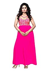 BanoRani Womens Rani Color Faux Georgette With Golden Flower Net Unstitched Pleated Gown