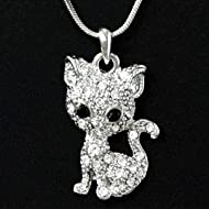 Adorable Little Kitty Cat Crystal Rhinestone Pendant Necklace