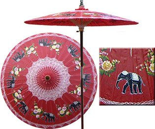 Asian Elephant 7 Foot Patio Umbrella With Base - Dragon Red