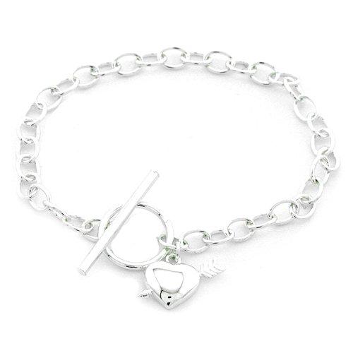 Sterling Silver T-Bar Charm Bracelet 18.5cm