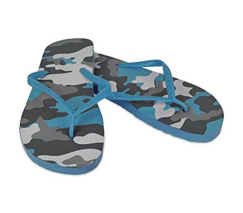 2073 Ciabatte infradito uomo fantasia militare 3 colori pantofole mare in gomma. MEDIA WAVE store (42, Celeste)