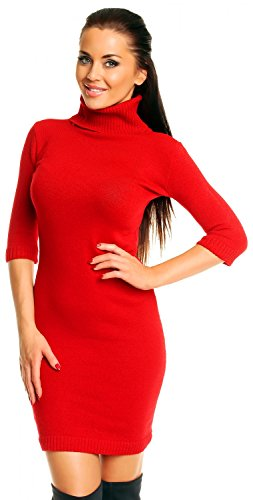 Zeta Ville - Vestito Abito corti in maglia - aderente - collo alto - Donna 125z (Rosso, ONE SIZE IT 40/42/44)