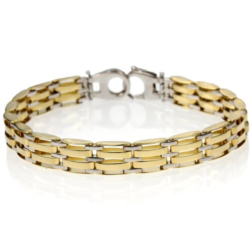 14k Bonded Gold and Silver Men's 8.9mm Bracelet,