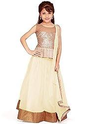 Beautiful Net Partywear Kids White Lehenga Choli (32 inches , 9-10 Years)