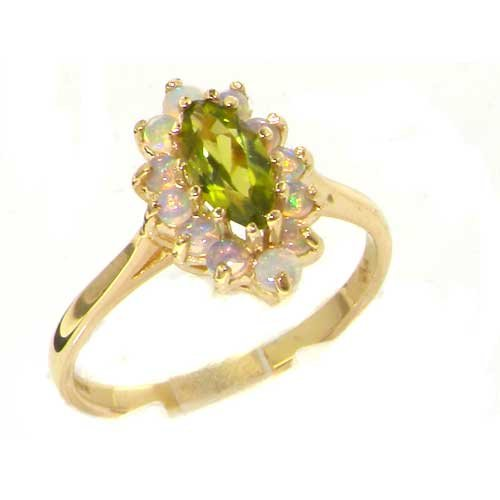 Solid English Yellow Gold Ladies Stunning Luxury Marquise Peridot & Fiery Opal Cluster Ring - Size 9.25 - Finger Sizes 5 to 12 Available