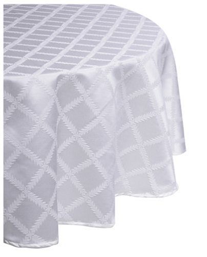 Lenox Laurel Leaf 90-Inch Round Tablecloth, White front-973408