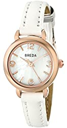 Breda Women's Rose Gold-Tone Watch with White Leather Band