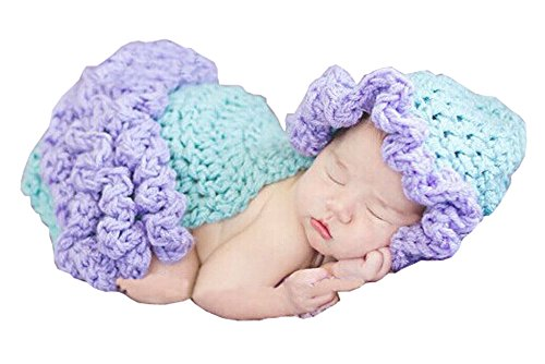 Photography Prop Baby Infant Costume Crochet Knitted Maid Hat Cap Cloak 0-12 Month