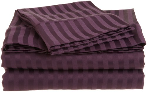 1500 Series 100% Brushed Microfiber 4-piece Queen Sheet Set Stripe, Plum - Deep Pocket, Super Soft and Wrinkle Resistant (Full Sheet Inc Modal compare prices)