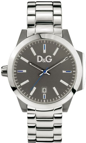Dolce & Gabbana Men's Watch Analogue Quartz DW0744 with Silver Stainless Steel Strap Grey Dial