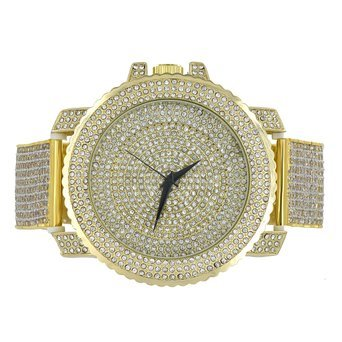 Fully Iced Out Simulated Diamond Techno Pave JoJo Gold Finish Mens Steel watch (Fully Iced Out compare prices)