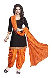 varsha Women's Unstitched Dress Material (Black and Orange)