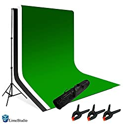 LimoStudio Photography Photo Video Studio Backdrop Background Kit, White Black Green Chromakey Backdrops, Backdrop Support Stand with Carry Bag, AGG796