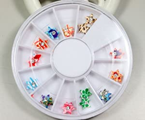 12 Colors 3D nail stickers decorated with a pattern of stars Designs Nail Art Polymer Decal Slices in Wheel