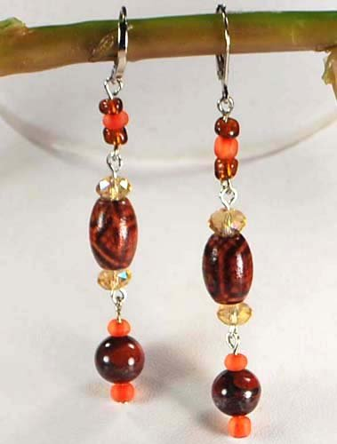 Natural Agate Pendant , wood, crystal Sterling Silver Earring N2_0422_08