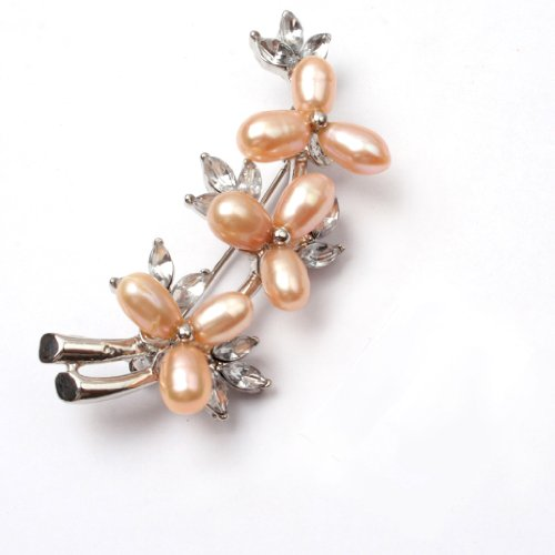 Pink Pearl White Gold Plated Flower Brooch Pins 25X60mm