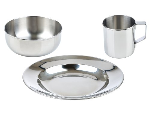 LunchBots Children's Stainless Steel Dish Set - 3-Piece Set Includes Plate (8