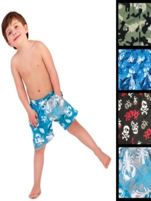 BOYS CHILDRENS KIDS SWIM SHORTS TRUNKS SWIMMING CAMO SHARK SKULL CRAB SIZES 3YEARS - 13YEARS