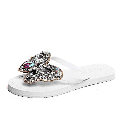 Strass de Summertime marée fashion tongs/Femmes glisser pincée de fond plat coréen douce plage/Sandales et pantoufles