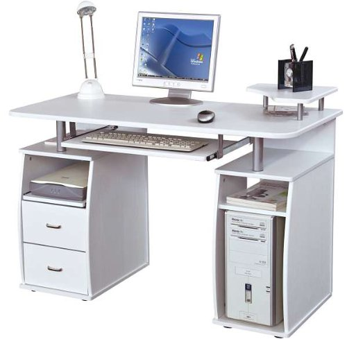 Piranha PC5s Large Computer Desk with 2 Drawers and 4 Shelves