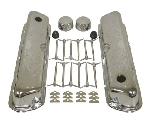 1962-85 Ford Small Block 260-289-302-351W Chrome Steel Engine Dress Up Kit - Flamed