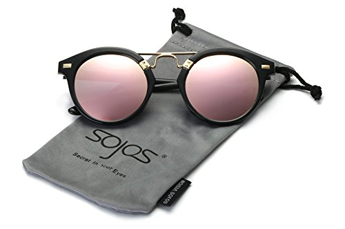 SojoS -  Occhiali da sole  - Donna C3 Black Frame/Pink Lens