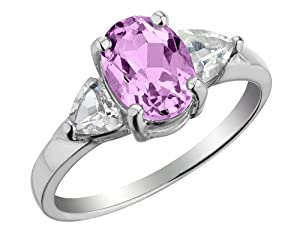 Three Stone Created Pink Sapphire and White Topaz Ring 2.0 Carats (ctw) in Sterling Silver, Size 5.5