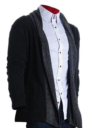 Cardigan Black (C201) Black at Amazon Men's Clothing store: Cardigan
